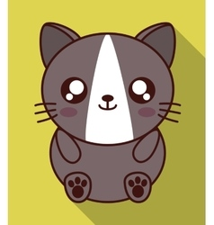 Kawaii cat icon Cute animal graphic vector