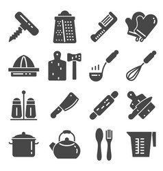 Kitchen related utensils and appliances silhouette vector