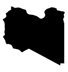 libya - solid black silhouette map of country area vector image