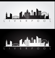 liverpool skyline and landmarks silhouette vector image