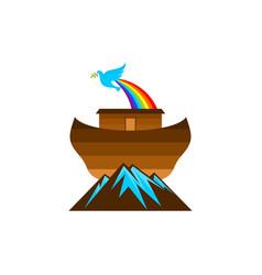 Logo noahs ark on top mountain vector