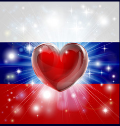 love russia flag heart background vector image