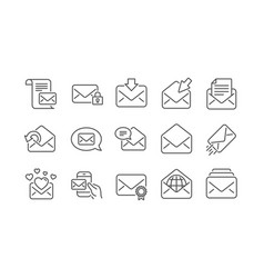 mail message line icons newsletter e-mail vector image