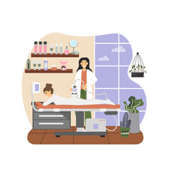 Massage therapist female giving anti cellulite vector