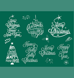 merry christmas and happy new year calligraphic vector image