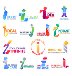 modern letter i business icons and symbols vector image