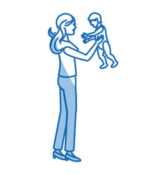Mom holding baby playing shadow vector
