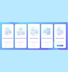 Motivational factors onboarding mobile app page vector