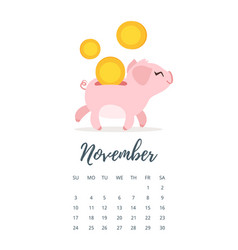 November 2019 year calendar page vector