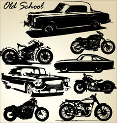 old school cars and motorbikes vector image