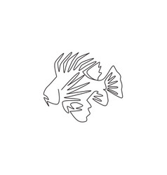one single line drawing terrifying lionfish vector image