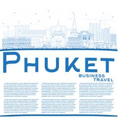Outline phuket thailand city skyline with blue vector
