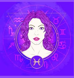 Pisces zodiac sign and portrait vector
