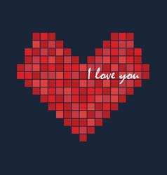 pixel love heart icon logo design vector image