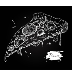 Pizza slice drawing Hand drawn pizza vector