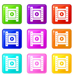 play film strip icons set 9 color collection vector image