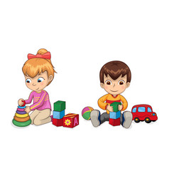 playful children with toys vector image