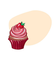 realistic of cupcakes vector image