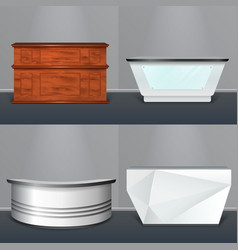 Reception desk modern realistic design vector