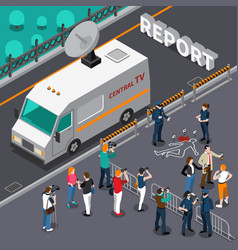 Reportage from murder scene isometric vector