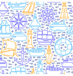 Sea seamless pattern with ship icons in line style vector