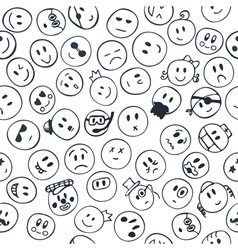Seamless pattern with cheerful and happy faces vector