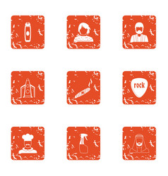 service gang icons set grunge style vector image