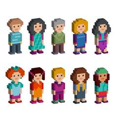 set funny pixel art style isometric characters vector image