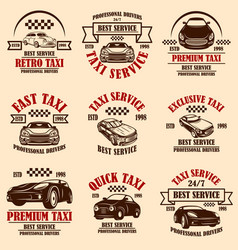 set taxi service emblems design element for vector image