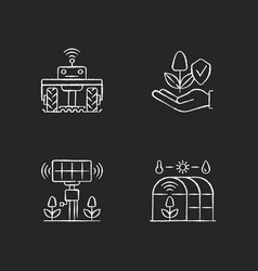 Smart agriculture rgb chalk white icons set vector