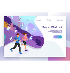 smart gadget for fitness isometric website vector image