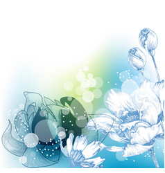 spring bright floral background in blue and green vector image