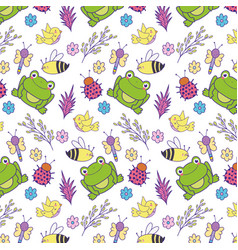 spring flowers with bee and frog background vector image