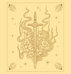 Sword with flowers magic vector
