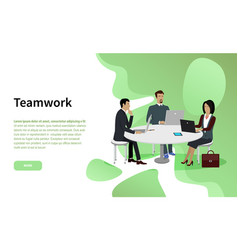 Teamwork and cooperation in business website page vector