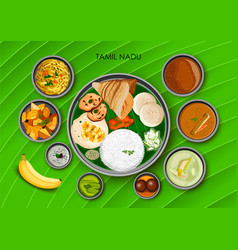 traditional cuisine and food meal thali of tamil vector image