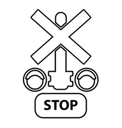 traffic light stop railway icon outline style vector image