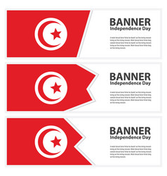 Tunisia flag banners collection independence day vector