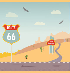 Usa route 66 and landscape vector