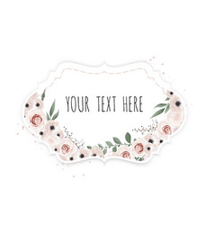 Vintage label with flowers frame border with copy vector