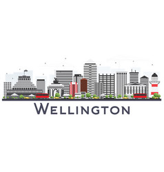 Wellington new zealand city skyline with gray vector