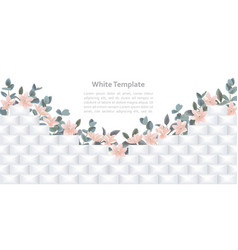 white geometric template with flowers vector image