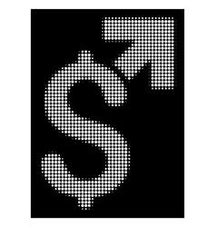 white halftone dollar growth icon vector image