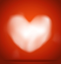 White heart of clouds on red background vector image