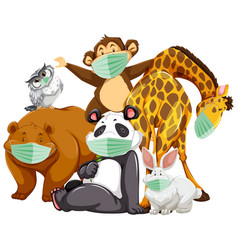 wild animal cartoon charater wearing mask vector image