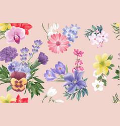 Winter bloom pattern design with gerbera lavender vector
