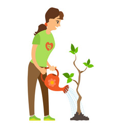 woman watering plant environment caring vector image