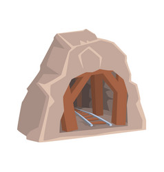 Wooden mine entrance with railway mining industry vector
