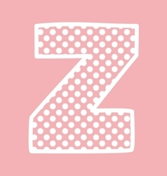Z alphabet letter with white polka dots on pink vector