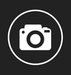 camera icon logo on black background flat vector image